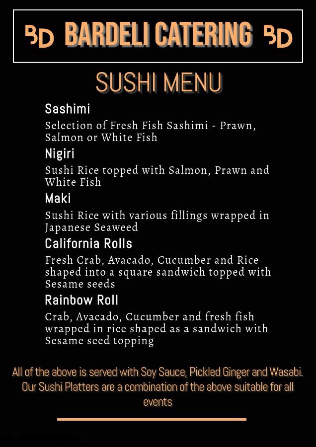 Bardeli Sushi Menu