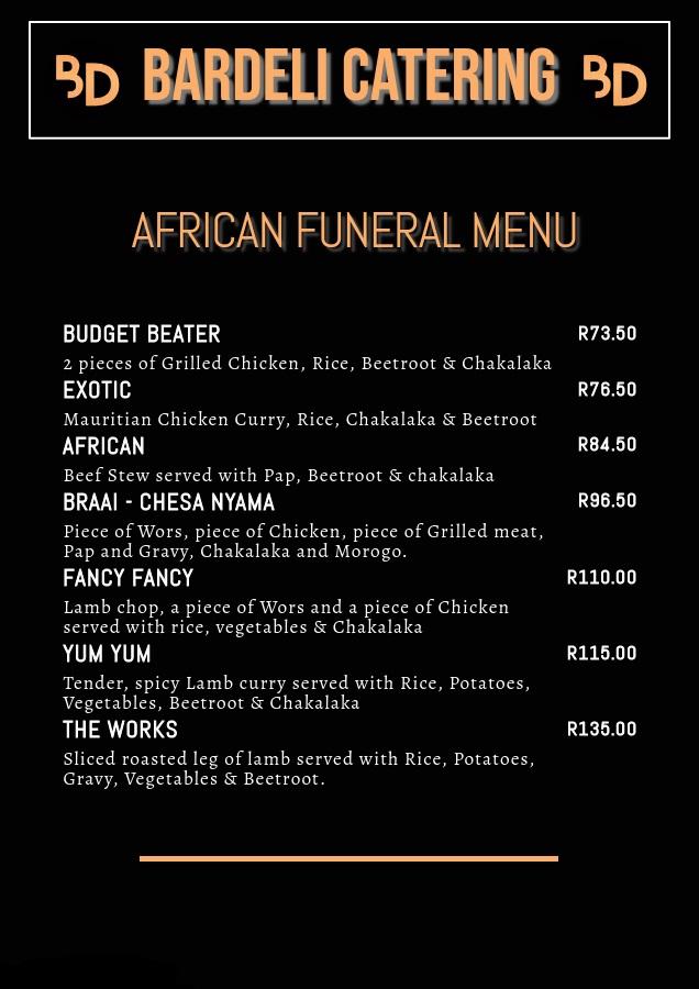 Bardeli Catering African Funeral Menu 1