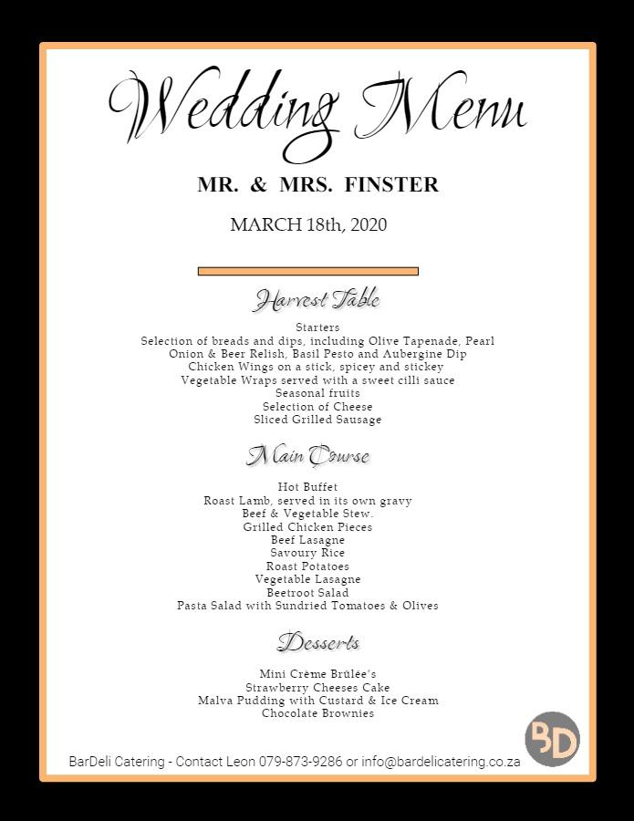 Wedding Menu Bardeli Catering